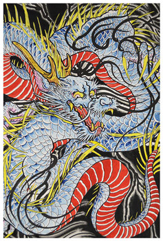 Clark North Dragon in Indigo - Art Print