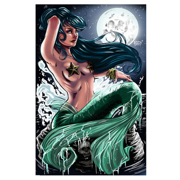 Kris Chisholm Moonglow Mermaid Canvas Giclee Art Print
