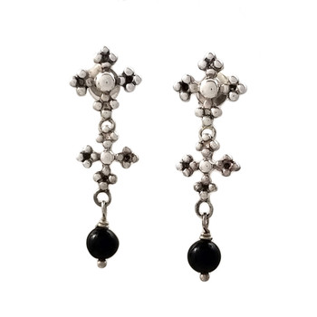Black Onyx dangle earrings with Iron Crosses.