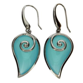 Aqua blue sterling silver earrings.