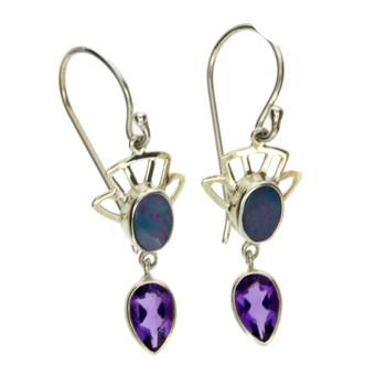 Blue Opal dangle earrings sterling silver.