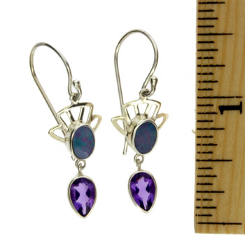Blue Opal dangle earrings sterling silver with ruler.
