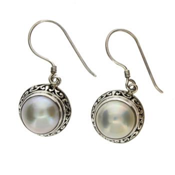 Bali design Pearl sterling silver dangle earrings.