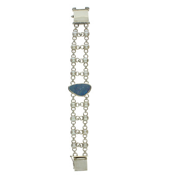 Opal and Pearl sterling silver bracelet.