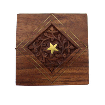 Hand carved wooden trinket box.