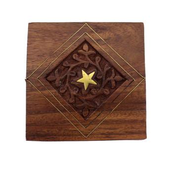 Hand carved wooden trinket box.