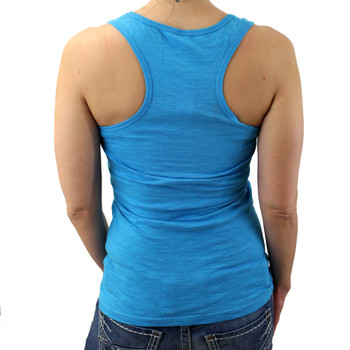 Turquoise blue racerback tank top with heart and wings.
