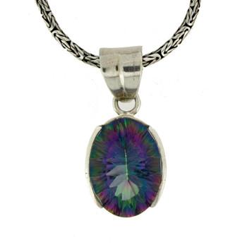 Mystic Topaz sterling silver pendant.