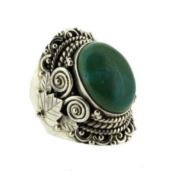 Green Blue Turquoise Ring Sterling Silver Size 7.5 Gemstone Bali Detail Design