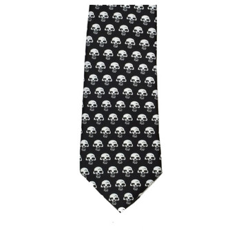 Men's Black Neck Tie with Little White Skulls Long