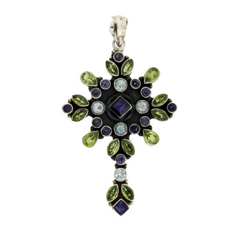 Multi stone cross pendant.
