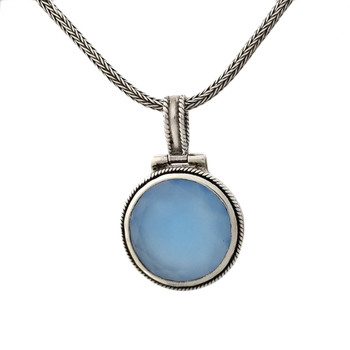 Blue Chalcedony on a chain.