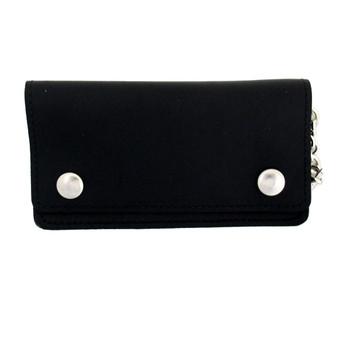 "6"" Men's Black Genuine Leather Wallet with Chain Biker Bi-Fold"
