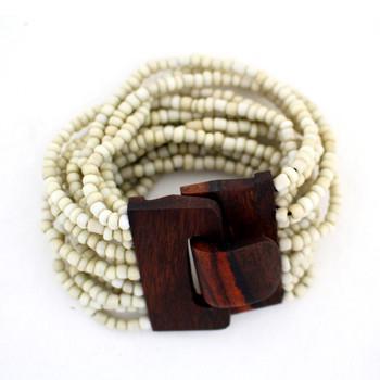 Creme beaded Bali bracelet.