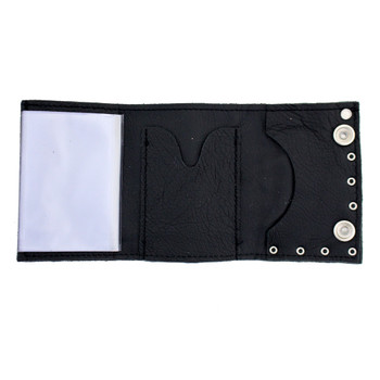 Black riveted leather trifold wallet with chain.