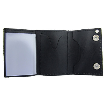 Eagle and American Flag embroidered on black leather trifold wallet.