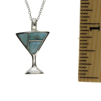 Sterling silver martini glass charm with Larimar stones.