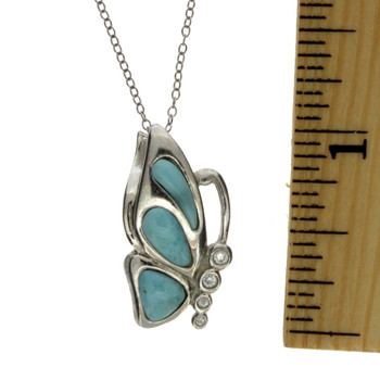 Sterling silver butterfly with Larimar and CZ stones.