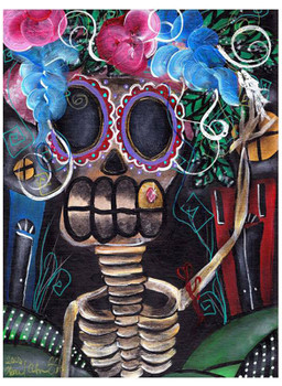 Going Out by Abril Andrade Tattoo Art Print Sugar Skull Skeleton