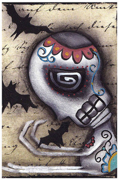Catching Bats by Abril Andrade Tattoo Art Print Sugar Skull