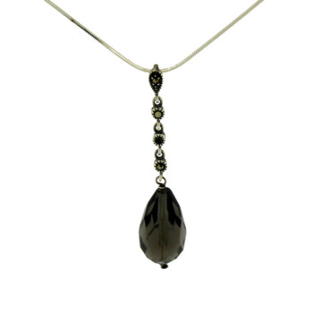 Smoky Topaz Marcasite sterling silver necklace.