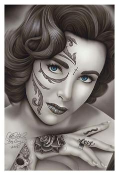 Liz by Big Ceeze Fine Art Print Elizabeth Taylor Sugar Skull