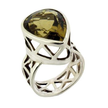 Faceted Lemon Quartz Sterling Silver Ring