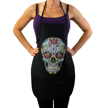 Colorful Day of the Dead kitchen apron.