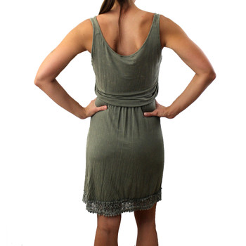 Back side olive stonewashed super soft tank dress with lace bottom.
