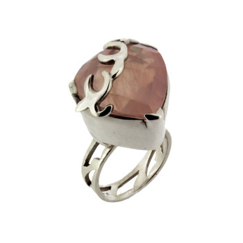 Rose Quartz sterling silver ring.
