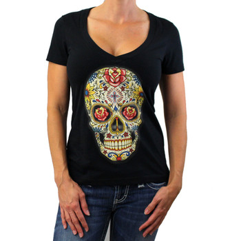 Day of the Dead skull on black V neck t-shirt.