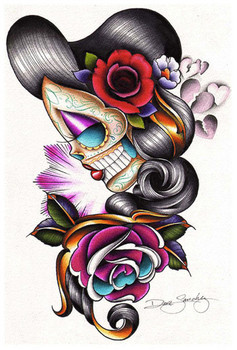 Sad Girl by Dave Sanchez Fine Art Print Day of the Dead Sugar Skull