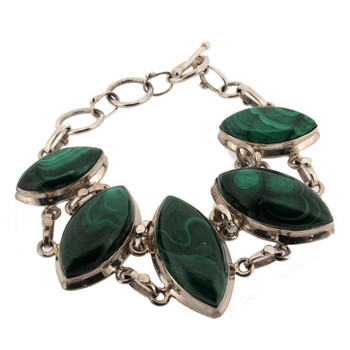 Green Malachite sterling silver bracelet.