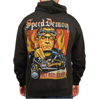 Speed Demon by Mike Bell Men's Black Zip Hoodie Tattoo Art Hot Rod Frankenstein