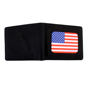 Full wallet outside American Flag  on black bi-fold men's wallet.