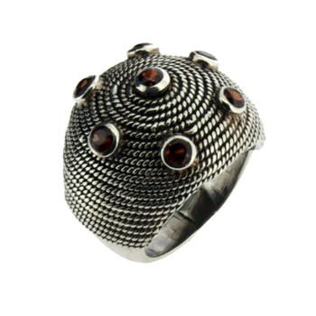 Large Garnet silver ring.