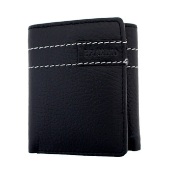 Black leather trifold wallet with white stitching.