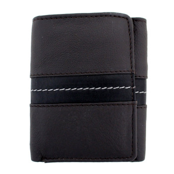 Chocolate brown leather trifold wallet with black stripe.