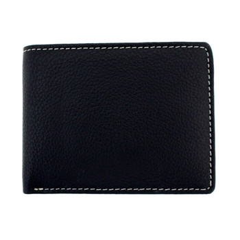 Black textured leather bi-fold with white stitching around edge.