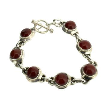 Brown Red Carnelian Sterling Silver Bracelet
