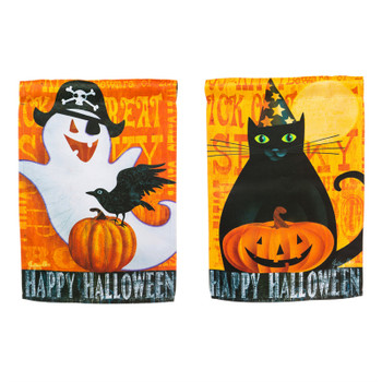 Halloween black cat and ghost garden flag.