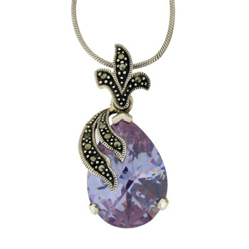 """Purple CZ with Marcasite and 18"""" snake chain."""