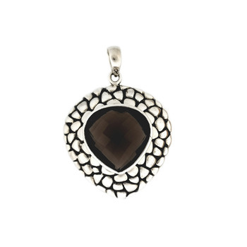 Faceted Smoky Topaz sterling silver pendant, made in Bali.