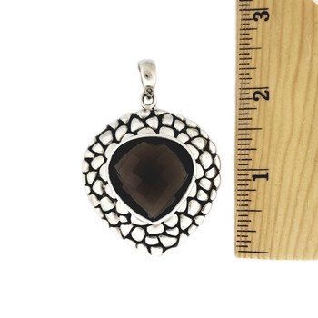 Faceted Smoky Topaz sterling silver pendant with ruler.