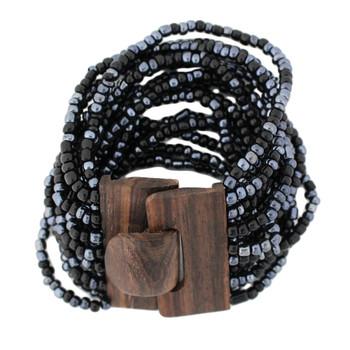 Black & Pewter Bali Bracelet Glass Beads w/ Wood Buckle Elastic