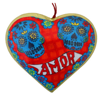 Amor Sugar Skull Day of the Dead Heart Christmas Holiday Ornament