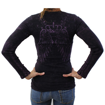 R23 mineral washed purple long sleeved shirt with crown, wings and rhinestones backside.