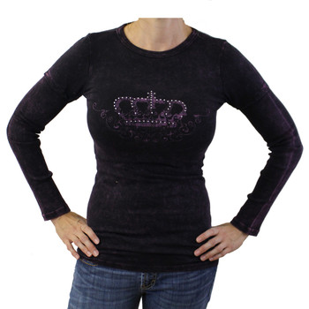 R23 mineral washed purple long sleeved shirt with crown, wings and rhinestones.