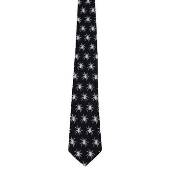 Men's Black Neck Tie with White Spiders