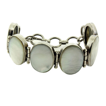 Mother of Pearl sterling silver bracelet connected with toggle.